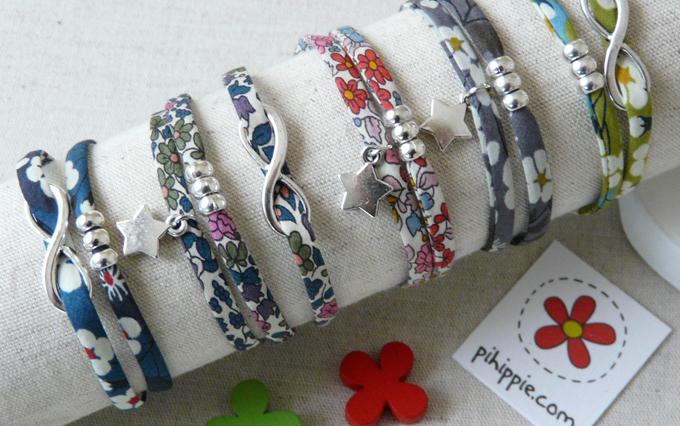 Regalos Comunión pulseras Liberty flores originales invitados