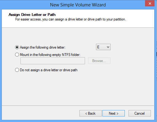 assign drive letter or path for new disk
