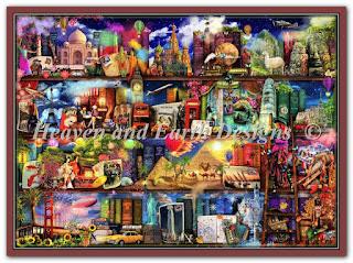 """HAED HAEAISLG 49287 """"Large World Travel Book Shelf"""""""