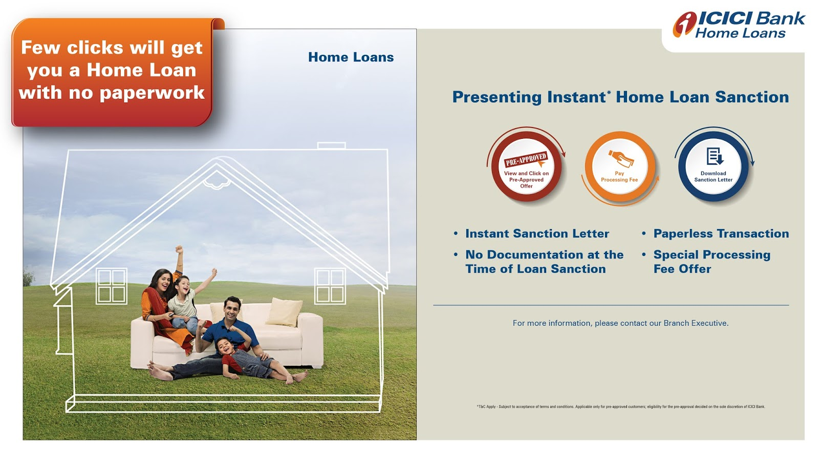 Instant Paperless Home Loan Approval By Icici Bank