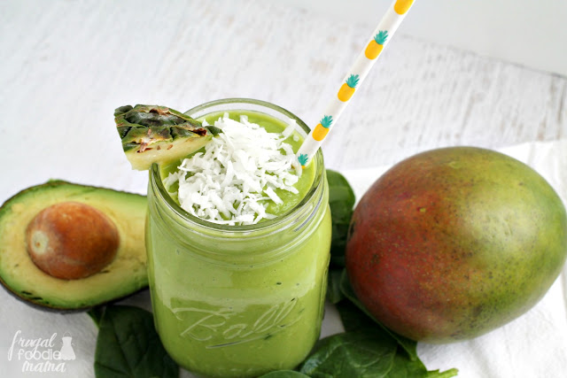 This delicious & dairy-free Tropical Green Goddess Smoothie gets its rich creaminess from a surprise secret ingredient- avocado!
