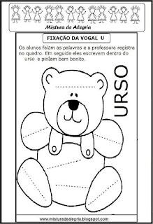 Treino ortográfico letra U de urso