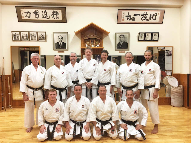 7th dan sensei Tony de Beer (standing on left of group) Shorei Karate