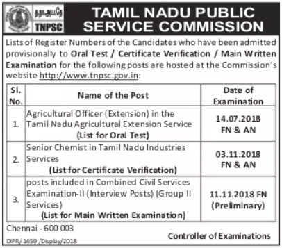 TNPSC Group-II Services - Preliminary Examination - Results