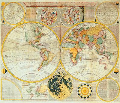 Antique Double Hemisphere World Map c1780