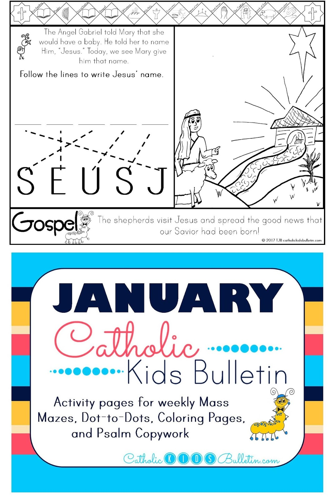 1 Luke 2.16-21 Shepherds visit Baby Jesus Coloring Page Catholic Kids Bulletin