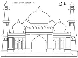 Mewarnai Gambar Masjid  Belajar Mewarnai Gambar