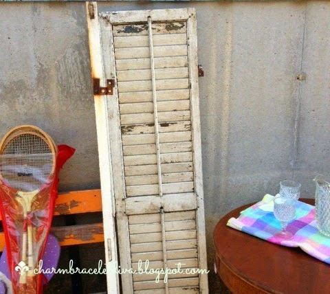 vintage, white, chippy shutter