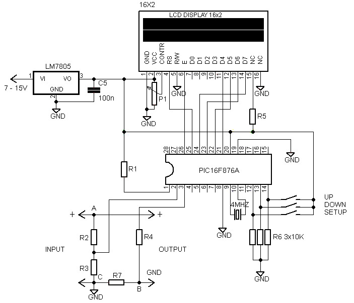 16 2 lcd volt meter ampere meter with pic electronic. Black Bedroom Furniture Sets. Home Design Ideas