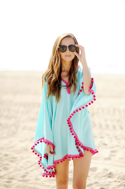 DIY Pom Pom Beach Coverup