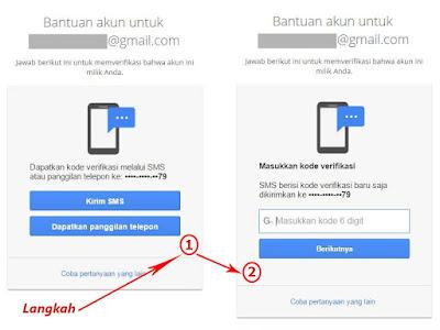 Pemulihan sandi gmail melalui sms ponsel