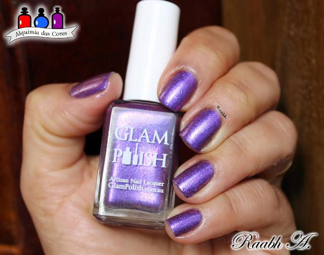 Glam Polish, Glam Polish Iconic Chicago, Glam Polish Ok, Boys: Let's Make a Withdrawal, esmalte roxo, Shimmer, flackies, Esmalte Indie, Unhas carimbadas, Moyou London Trend Hunter 01, Nail Art, Raabh A. 2018,
