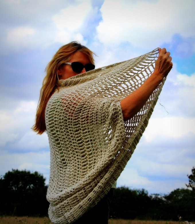 Canyon or cocoon crochet shrug