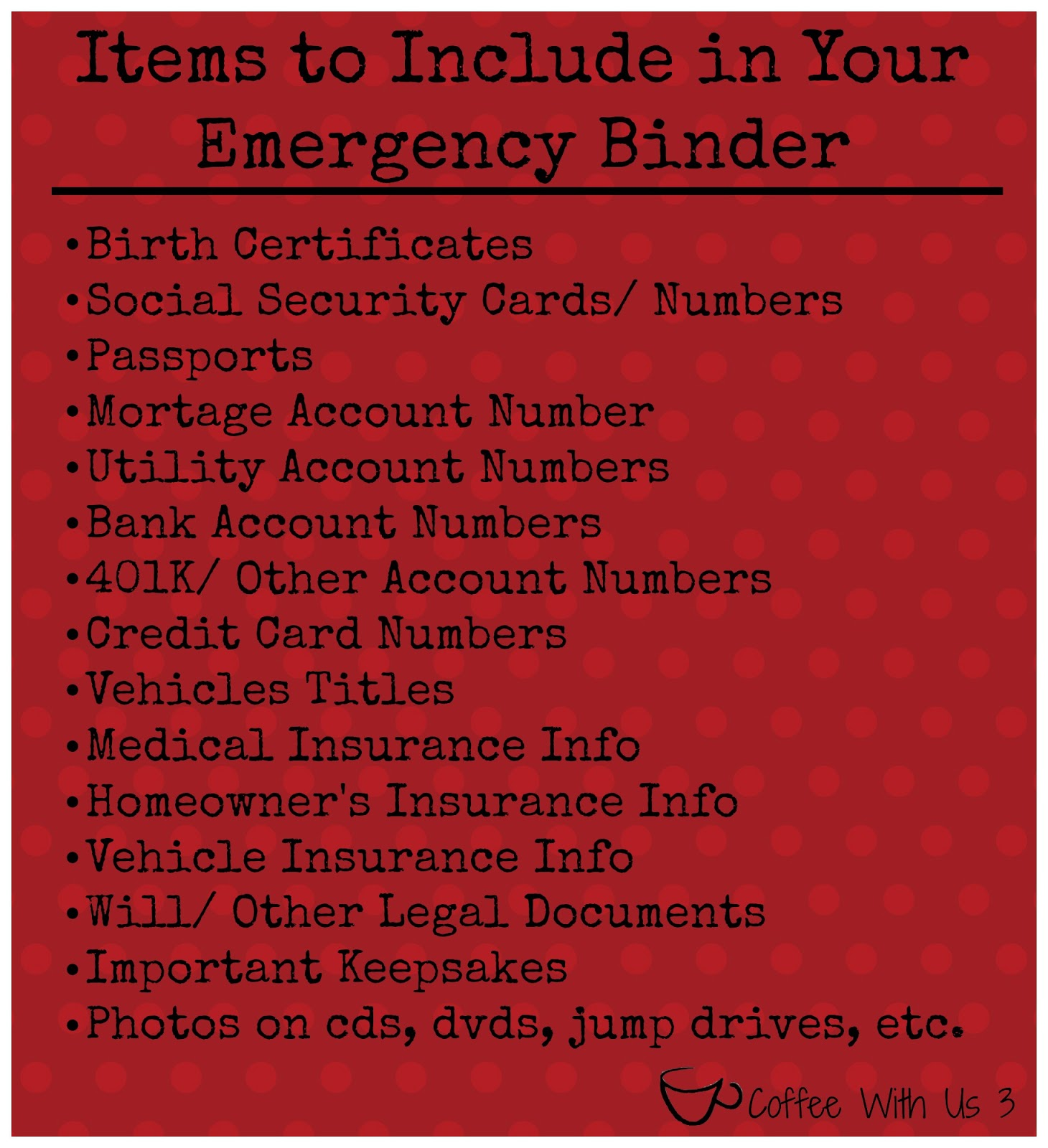 Making An Emergency Binder