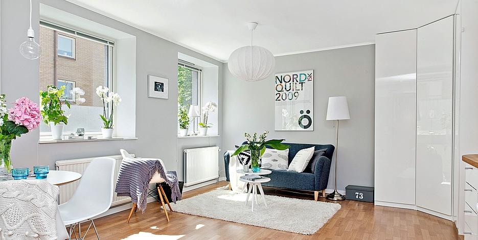Decor me gris blanco y espacios bien aprovechados en 55 m2 for Como decorar un apartamento de 45 metros