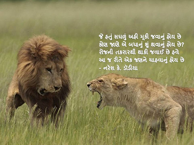 रोजनी तकरारथी थाकी जवाई छे हवे Gujarati Muktak By Naresh K. Dodia