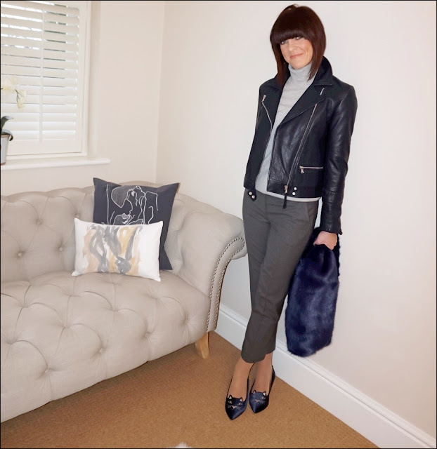 My Midlife Fashion, Massimo Dutti navy leather biker jacket, marks and spencer pure cashmere polo neck jumper, the white company the ultimate oxford flannel trousers, charlotte olympia kitty flat shoes, banana republic faux rabbit fur stole