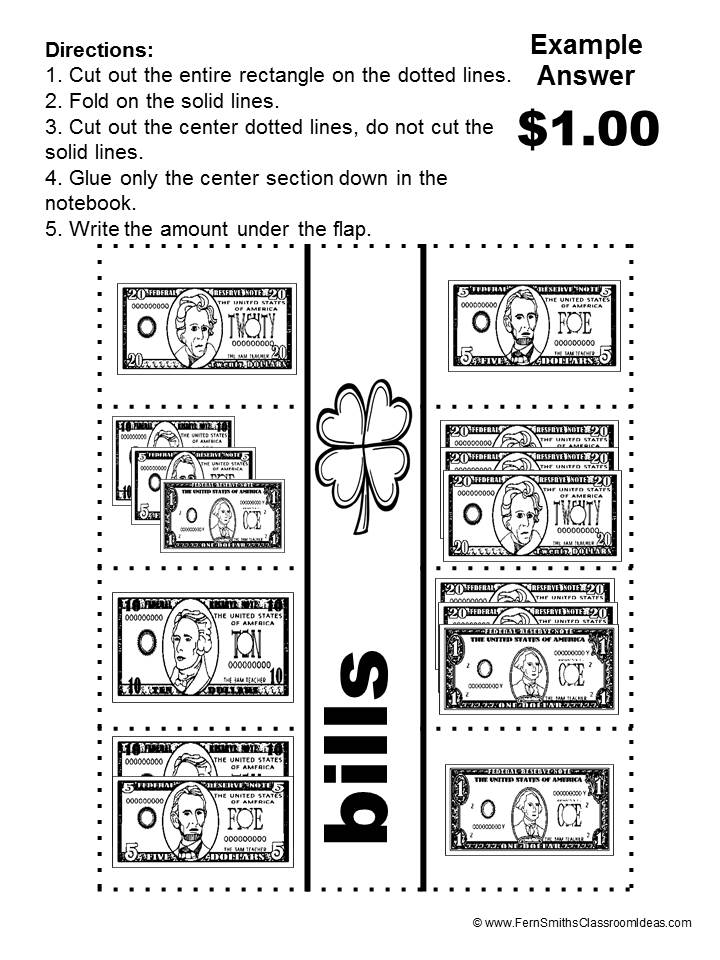 FREE Interactive Notebook Activity in the Free Preview of Fern Smith Classroom Ideas St. Patrick's Day Counting Bills Mega Math Pack FREEBIE!