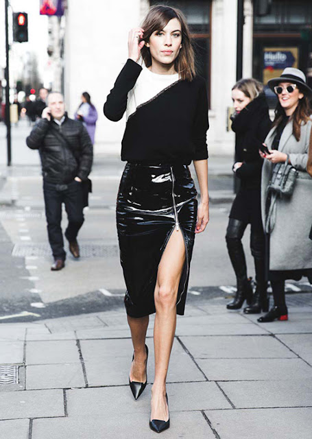 patent leather skirt street style