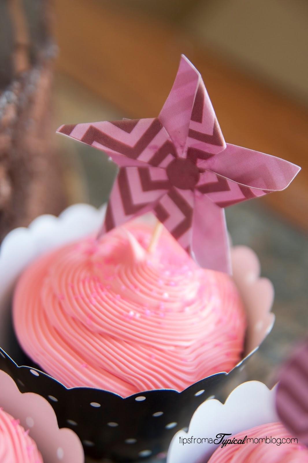 Valentines Day pinwheel cupcake topper printables.