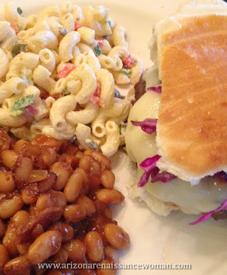 Bison Burger, Baked Beans, and Macaroni Salad
