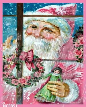 pink chic victorian santa fabric