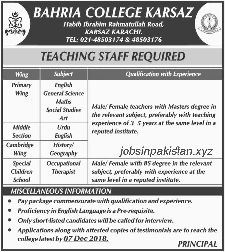 Advertisement for Bahria College Jobs 2018