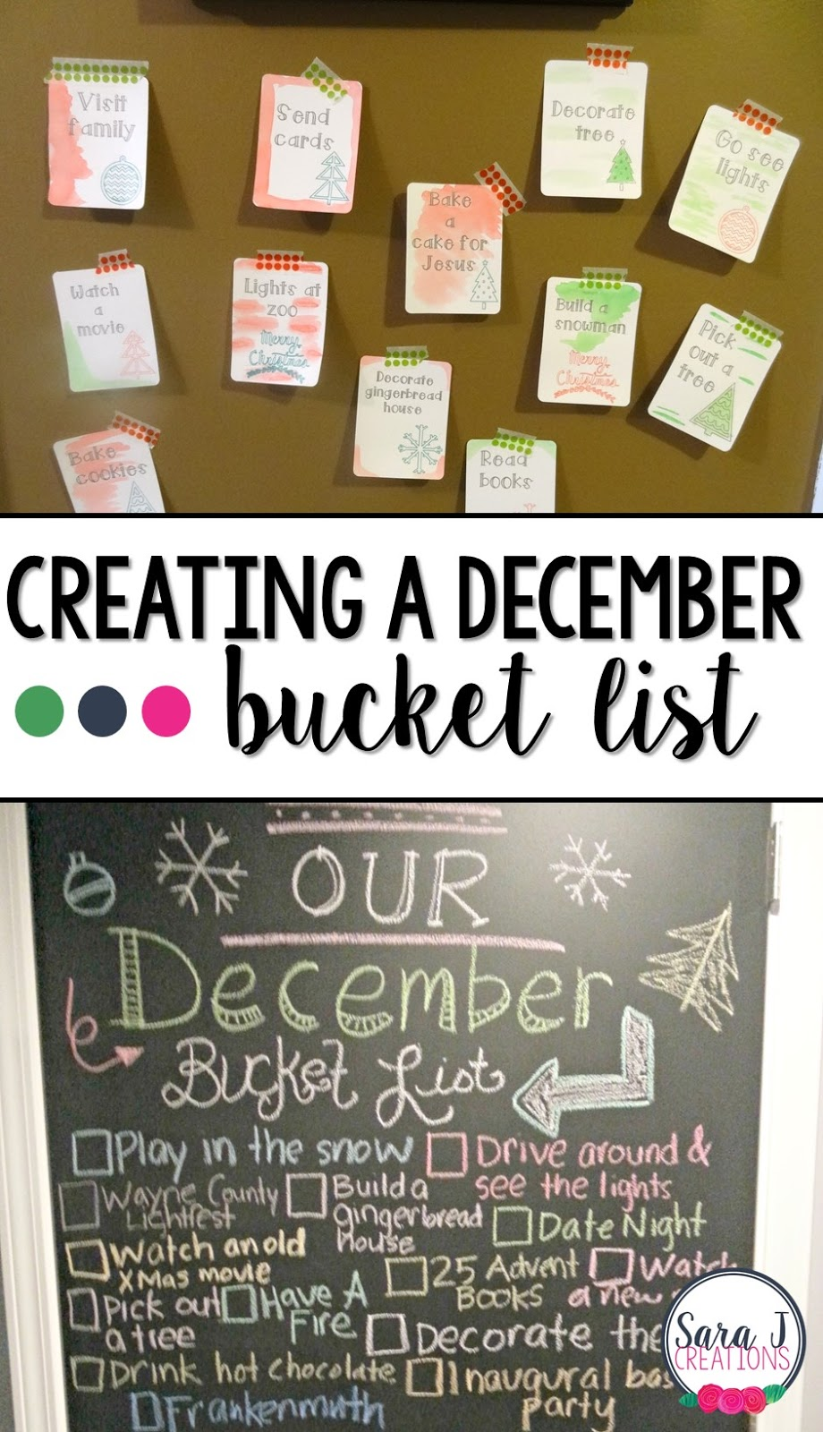 Counting down to Christmas by creating a December bucket list with crafts, ideas, DIY, and traditions to make the month fun as a family.