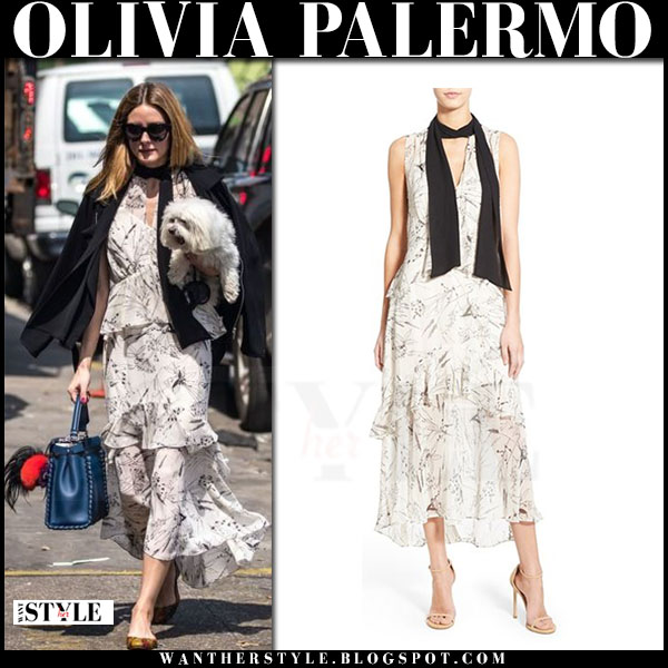 Olivia Palermo in white floral print chelsea28 dress, black blazer with blue fendi peekaboo bag what she wore streetstyle