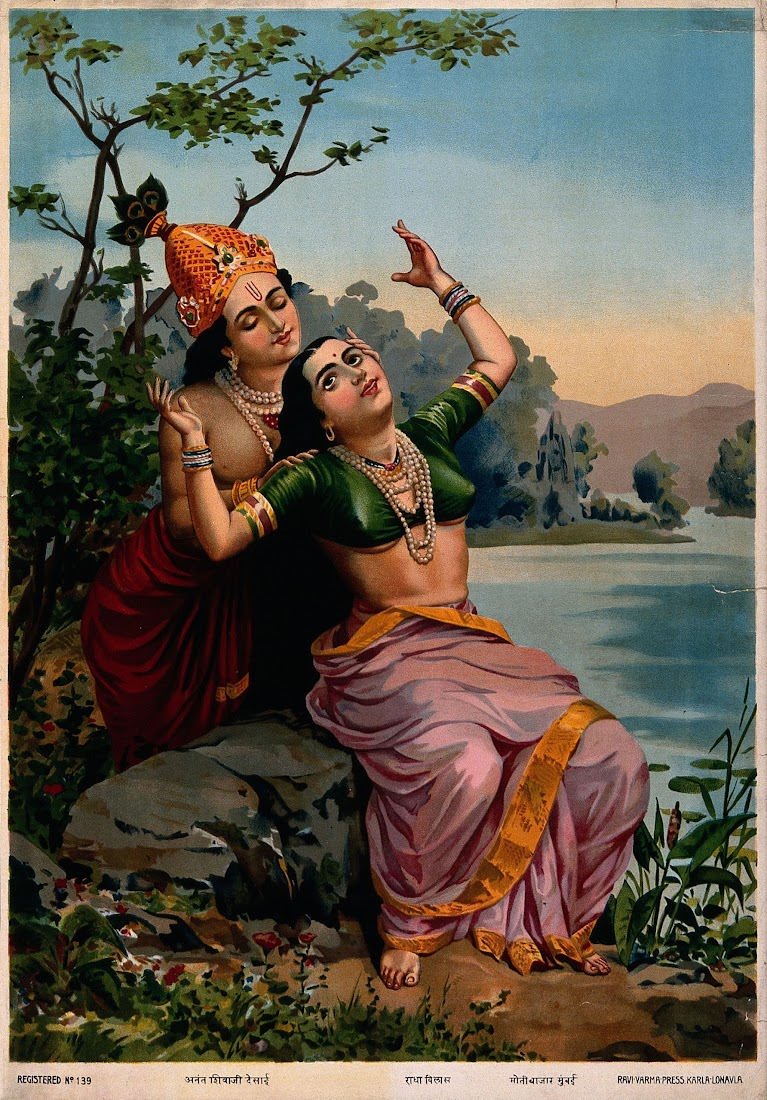 Krishna embracing Radha (Radha Vilas) - Lithograph Print, Ravi Varma Press, 20th Century