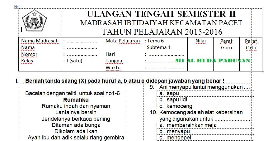 Soal Uts Ktsp Sd Mi Dan K13 Semester Ii Terbaru Tahun Ajaran 2015 2016 Mi Al Huda Padusan
