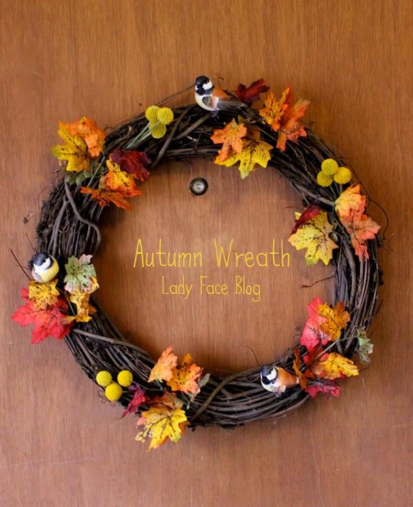 Autumn Bird and Leaf Wreath