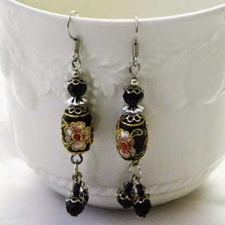 Black Cloisonne bead earring droppers