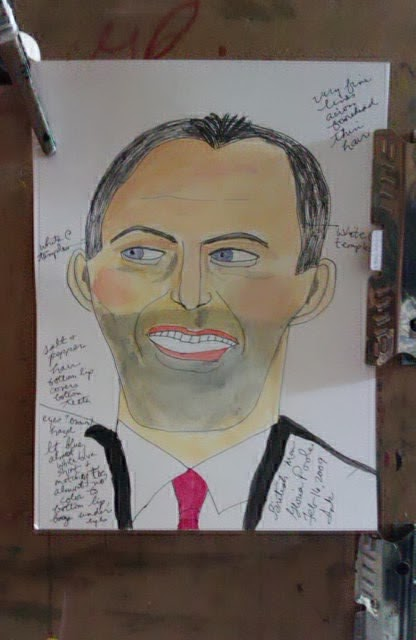 Tony Blair of UK, sketch by Gloria Poole
