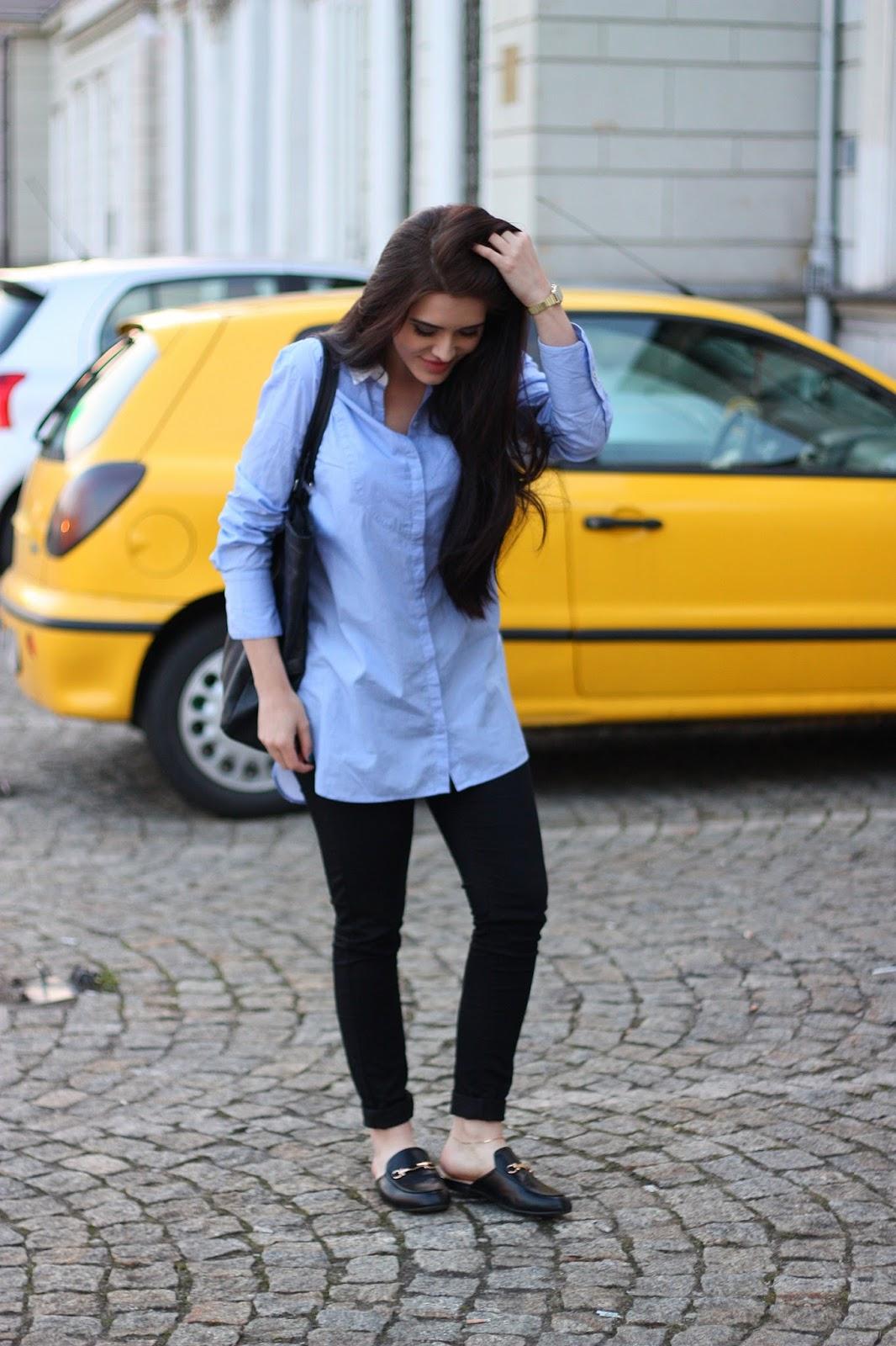 Blue shirt u0026 black jeans - Justyna Lis