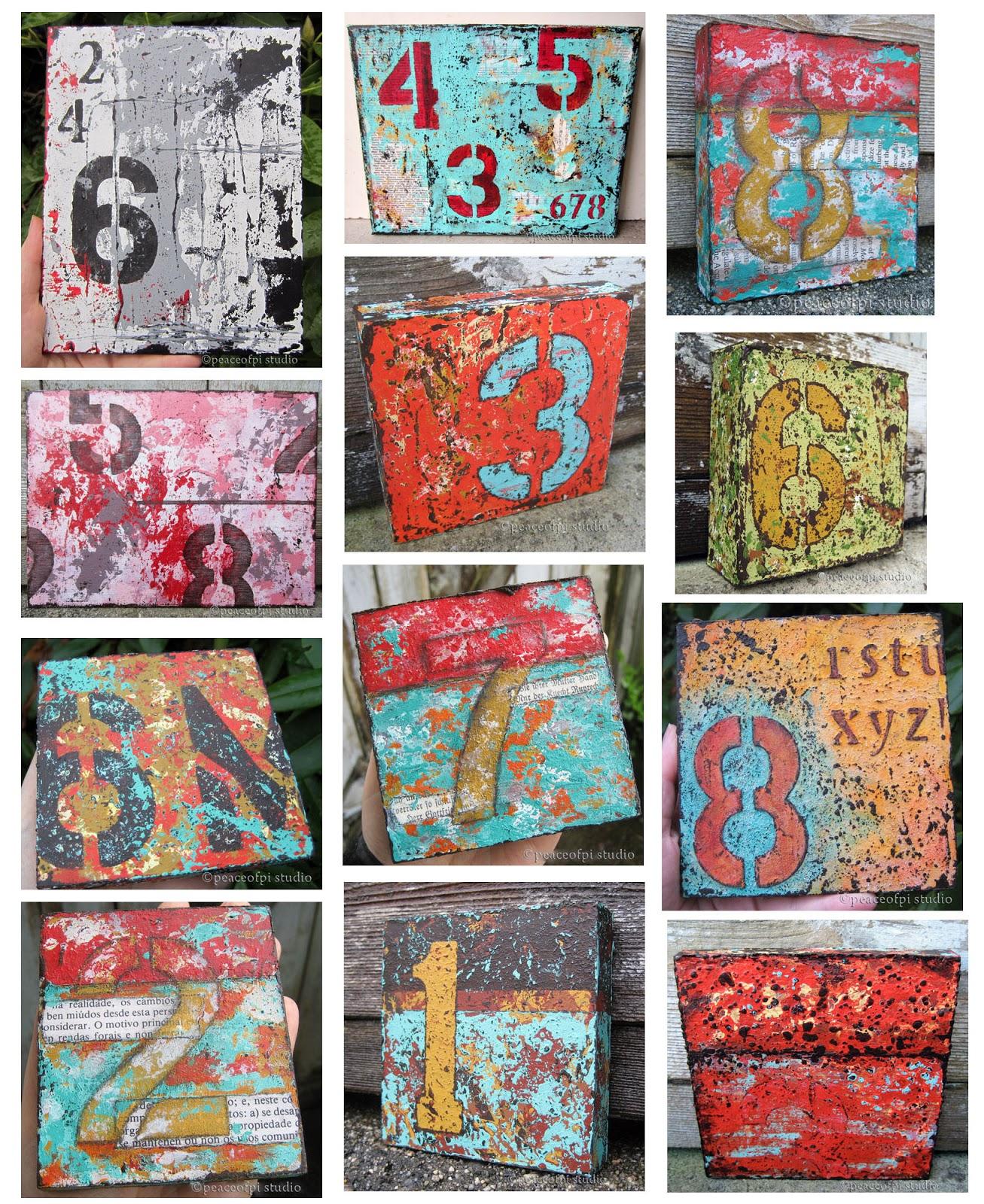 peaceofpi studio: Numbers Painting, Typography Series