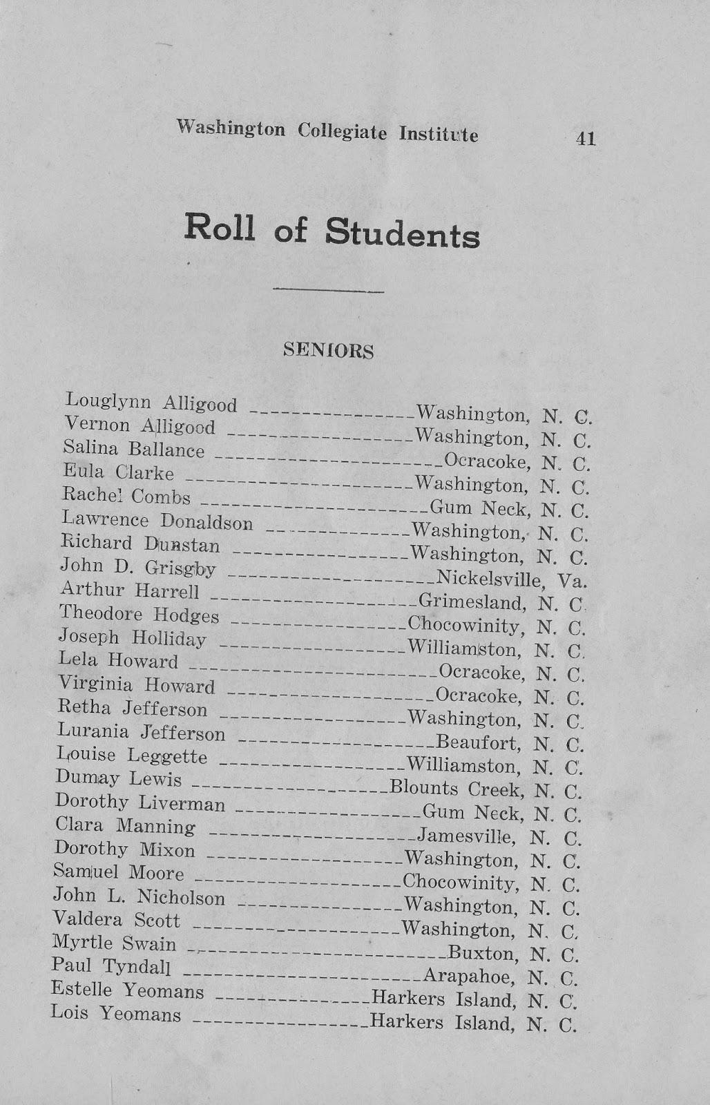 Ocracoke Island Journal: Washington Collegiate Institute