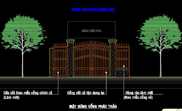 Bản vẽ cổng đẹp quán SPA