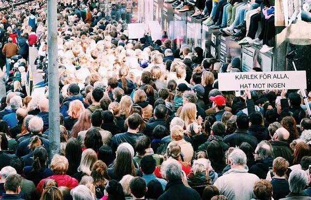 Sergels Torg durante la manifestación contra el ataque terrorista en Estocolmo (Photo: Visit Stockholm)