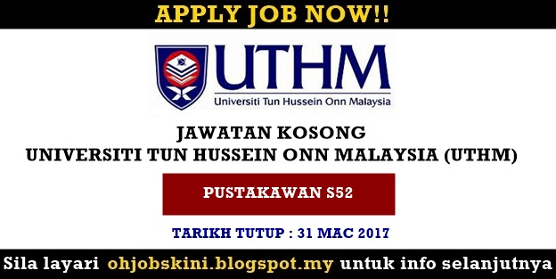 Jawatan Kosong Universiti Tun Hussein Onn Malaysia (UTHM)