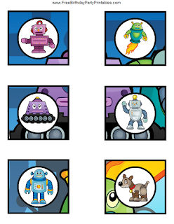 Free Robot Birthday Party Printables- cupcake toppers