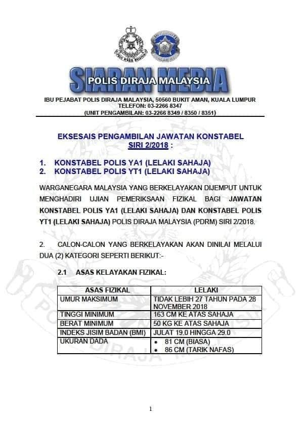 Temuduga Terbuka Polis Diraja Malaysia Pdrm Tanpa Spa8i Seluruh Malaysia Tehpanas