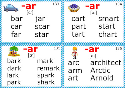 english phonics flashcards r-controlled vowel sounds