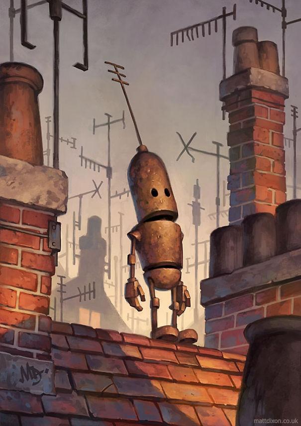 03-Matt-Dixon-Illustrations-of-Lonely-Robots-Experiencing-The-World-www-designstack-co