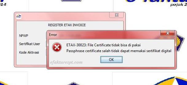 efaktur error ETAX 30023
