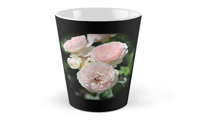 Misty Pink Cabbage Roses Vignette Tall Mugs