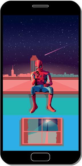 Spider Man Assis sur un Toit Fan Art - Fond d'Écran en FHD pour Mobile