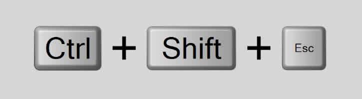 Teclas de atalho CTRL + SHIFT + ESC