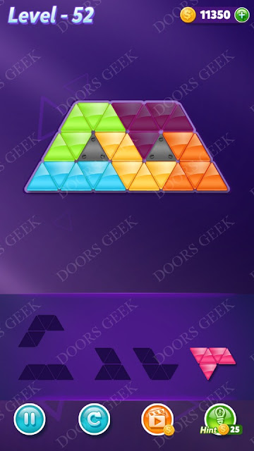 Block! Triangle Puzzle 5 Mania Level 52 Solution, Cheats, Walkthrough for Android, iPhone, iPad and iPod