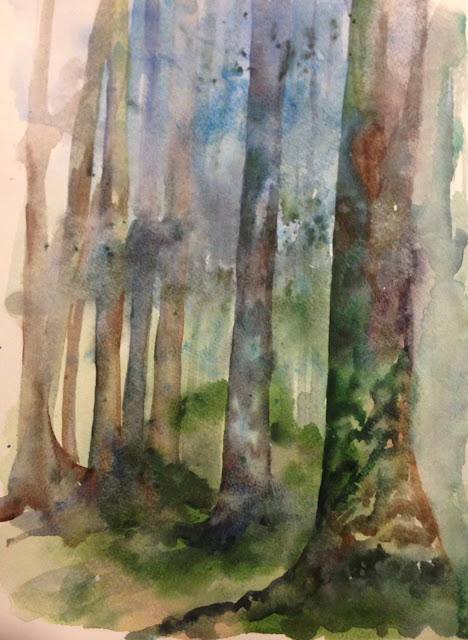 Tuesday, 21st August 2018 - Twenty Acre Woods, Watercolour Painting